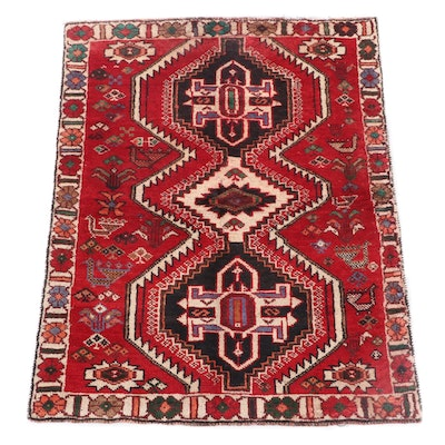 3'11 x 5'5 Hand-Knotted Persian Yalameh Wool Rug