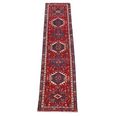 2'7 x 10'11 Hand-Knotted Persian Karaja Wool Carpet Runner