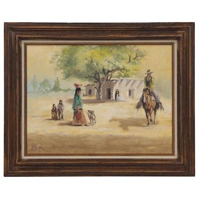 """Hal Empie Oil Painting """"Buenos Dias"""", 1980"""