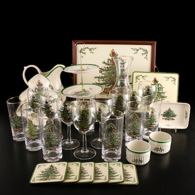 "Spode ""Christmas Tree"" Glassware and Green Trim Serveware"
