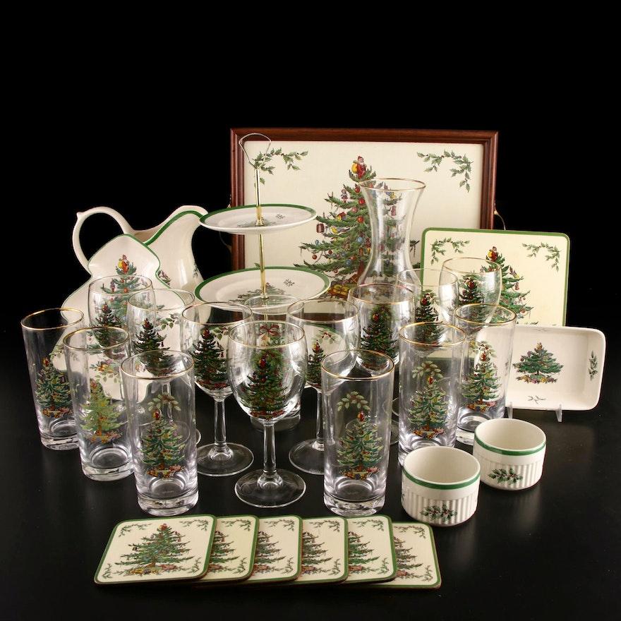 "Spode ""Christmas Tree"" Glassware and Green Trim Serveware"