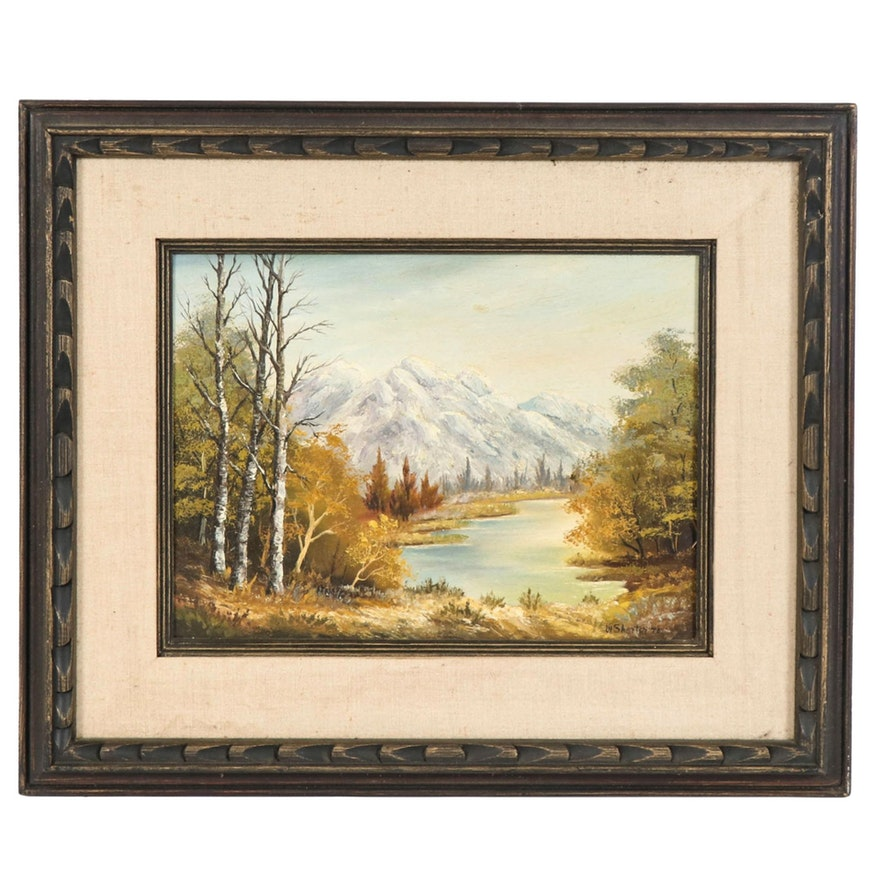 "Landscape Oil Painting ""Fisherman's Walk,"" 1970"