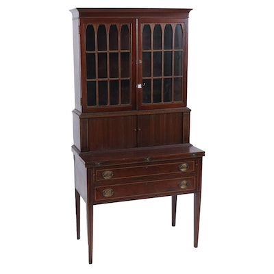 Maddox Mahogany Secretary Desk with String Inlaid Details, circa 1930