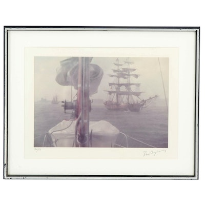 Nautical Lithograph of Sailing Schooners, Late 20th Century