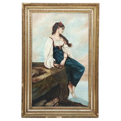 Oil Painting of Women on Granite Ledge