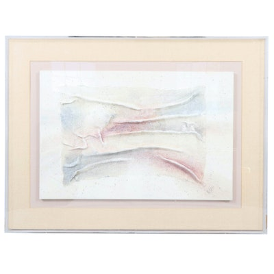 Abstract Mixed Media Watercolor Painting, Late 20th Century