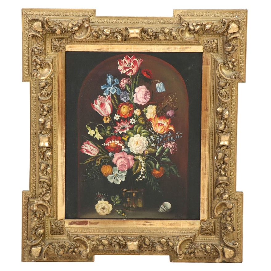 Dutch Style Floral Still Life Oil Painting, 19th/20th Century