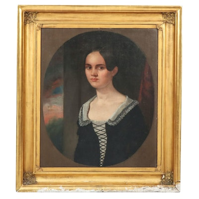 American School Oil Portrait of a Young Women, 19th Century