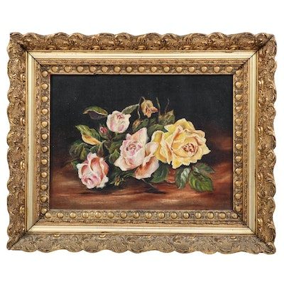 Still Life Oil Painting of Pink and Yellow Roses, Early 20th Century