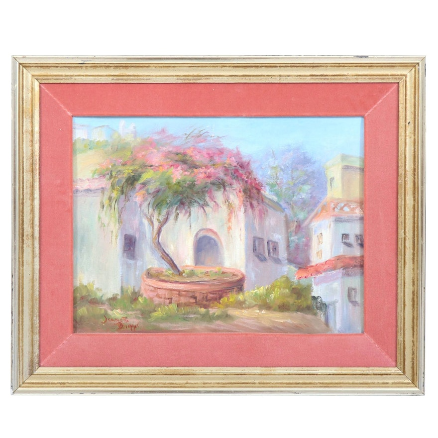 Jeanette Bigger Oil Painting of Spanish Mission Home, 20th/21st Century