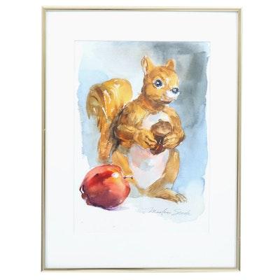 "Marlene Steele Watercolor Painting ""Friendly Visitor"""