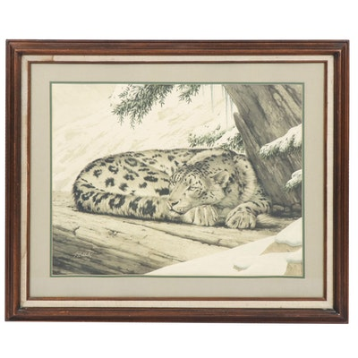 "Guy Coheleach Lithograph ""Snow Leopard"""