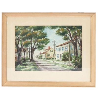 G.H. Anderson Watercolor Painting of Neighborhood Landscape, 1954