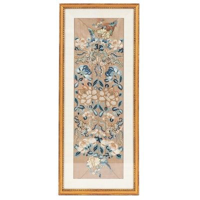 Chinese Floral Embroidered Silk Panel, Mid to Late 20th Century