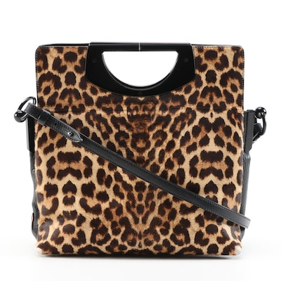 Christian Louboutin Passage Leopard Print Pony Hair and Grained Leather Bag