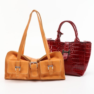 Courage.b and Carla Mancini Embossed and Grained Leather Handbags
