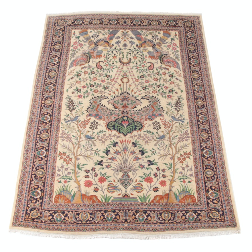 7'0 x 10'4 Hand-Knotted Persian Tabriz Wool Rug