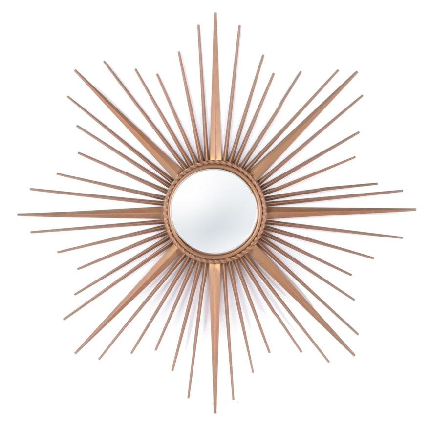Chaty Vallauris Sunburst Fish Eye Wall Mirror, Mid to Late 20th Century
