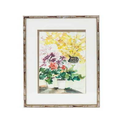 Ethel Todd George Watercolor Painting of Floral Still Life