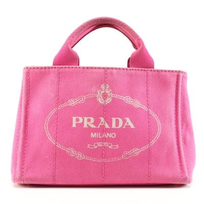 Prada Canapa Pink Canvas Tote Bag