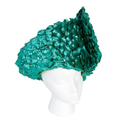 Jack McConnell Embellished Green Metallic Petal and Woven Cellophane Hat