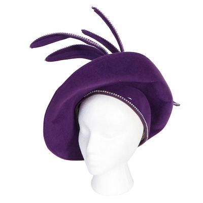 Jack McConnell New York Rhinestone Embellished Purple Felt Stylized Hat