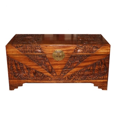 Chinese Carved Camphorwood Lift-Lid Chest, 20th Century