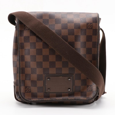 Louis Vuitton Brooklyn PM Bag in Damier Ebene Coated Canvas