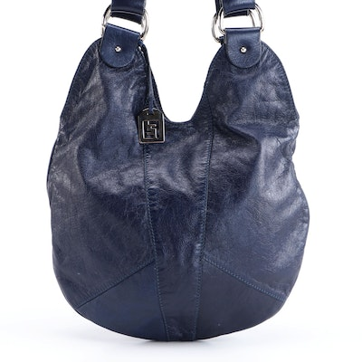 Fendi Dark Blue Grained Leather Hobo Bag