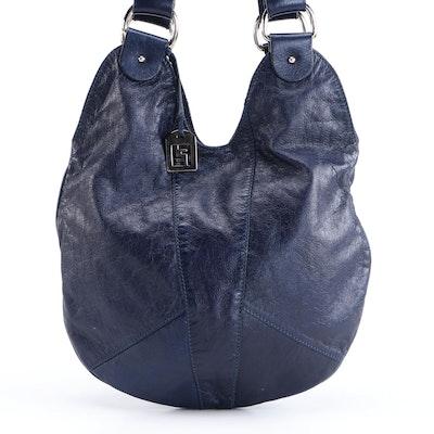 Fendi Dark Blue Grained Leather Hobo Bag