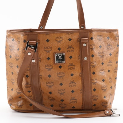 MCM Visetos Monogram Brown Leather Tote