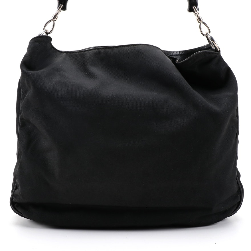 Gucci Bamboo Black Nylon and Leather Two-Way Shoulder Bag