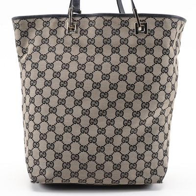 Gucci GG Canvas and Black Leather Bucket Bag