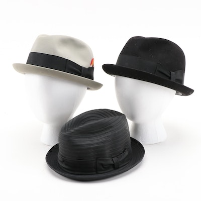 Dobbs and Wormser Felted and Grosgrain Fedoras with Wormser Hat Box