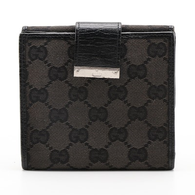 Gucci GG Black Canvas and Leather Bifold Wallet