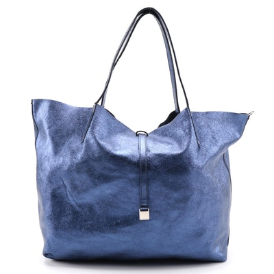 Tiffany & Co. Blue Metallic Leather Tote with Zip Pouch