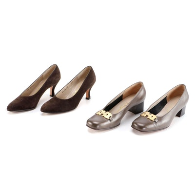 Salvatore Ferragamo Gancini Saffiano Leather Pumps and Brown Suede Pumps