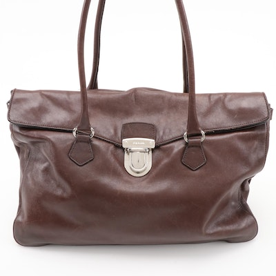 Prada Easy Caffe Vitello Leather Foldover Satchel