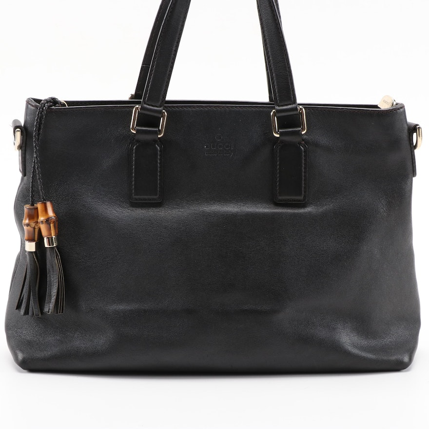 Gucci Black/Brown Grained Leather Two-Way Handbag with Bamboo Tassels