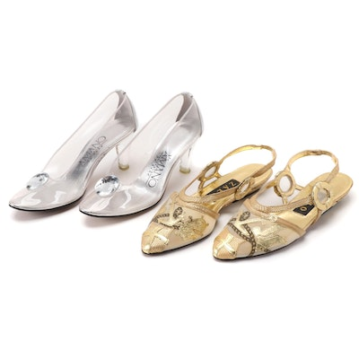 A'Mano Transparent Vinyl Pumps and Zalo Metallic Gold Mesh Slingbacks