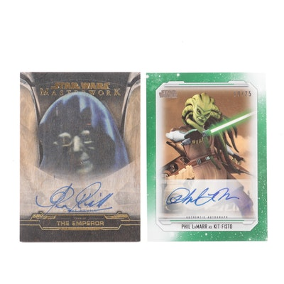 Star Wars Phil LaMarr and Clive Revill Autographed Cards