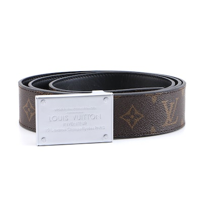 Men's Louis Vuitton Neo Inventeur Reversible Monogram Canvas and Leather Belt