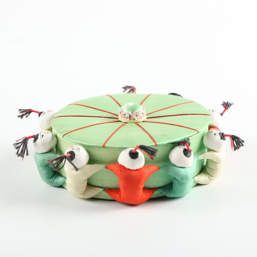 Chinese Silk  Pin Cushion Sewing Box, Mid to Late 20th Century
