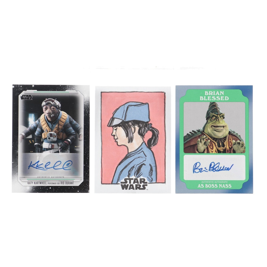 Brian Blessed, Bruce Gerlach, and Katy Kartwheel Autographed Star Wars Cards