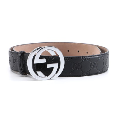 Men's Gucci Black Guccissima Leather Belt with Interlocking GG Buckle