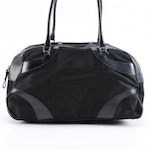 Prada Black Tessuto Nylon and Leather Bowler Bag