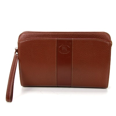 "Burberry Wristlet in Whiskey Brown Grained Leather with ""Haymarket Check"" Lining"