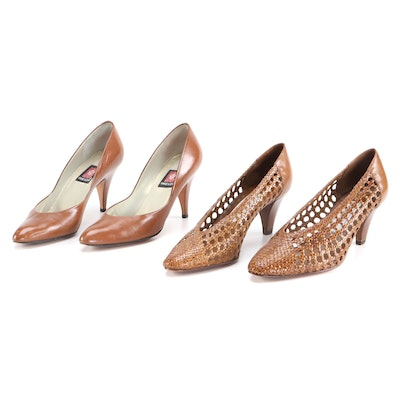 Anne Klein Almond Toe and Saks Fifth Avenue Woven Leather Pumps