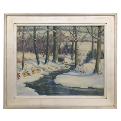 Robert L. Palliser Oil Painting of Winter Landscape with Creek