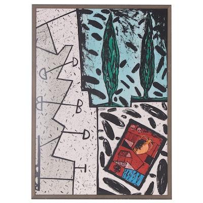 "Italo Scanga Lithograph ""2 Cypress"", 1989"